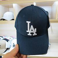 Бейсболка хлопковая с металлической застежкой синяя с белым лого LA (реплика)