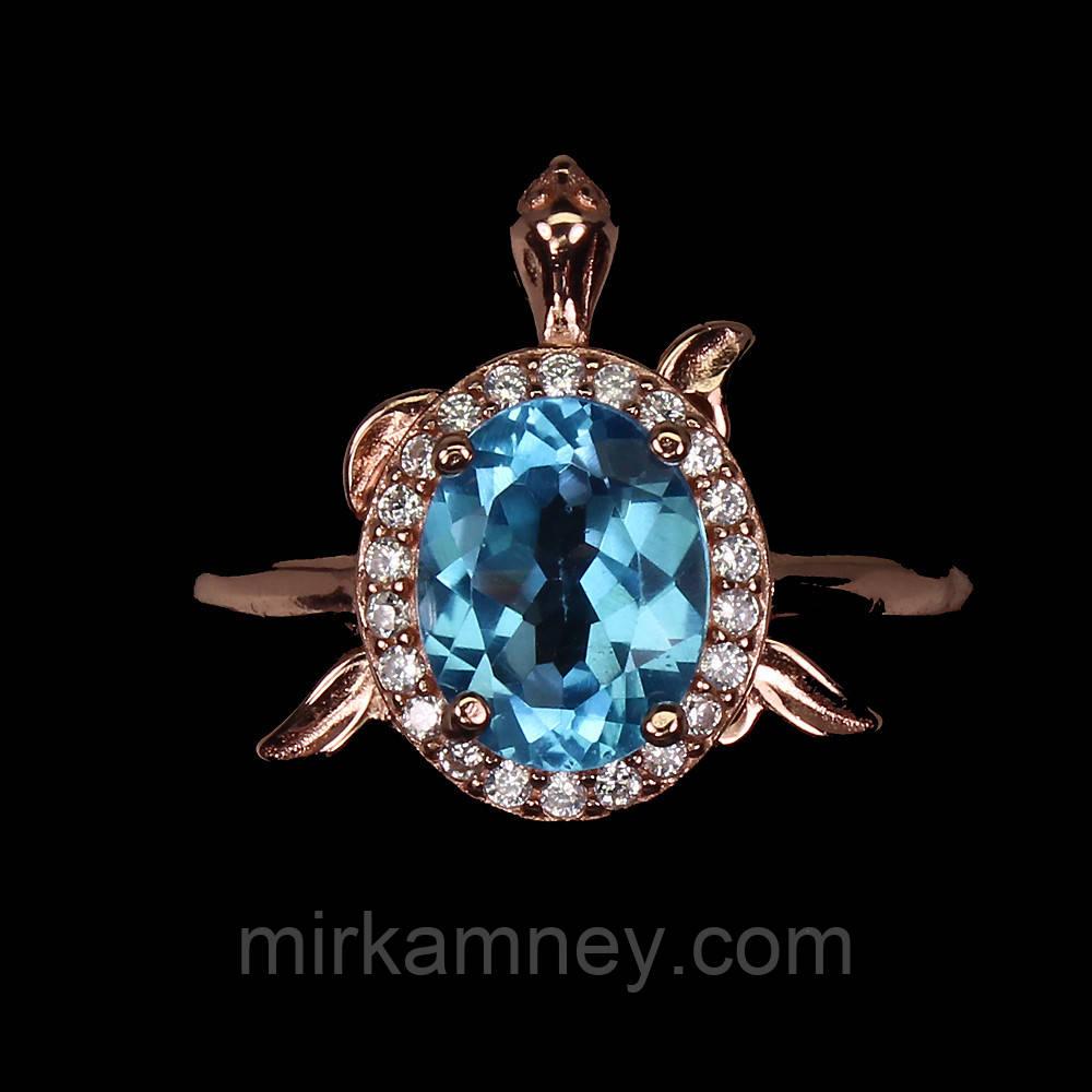 Кольцо Голубой Топаз (Африка).(Черепаха) Размер кольца17. Серебро 925, покрытие золотом 14 карат.