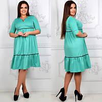 """Расклешенное платье """"Belinda"""" с оборкой и четвертным рукавом (большие размеры)"""