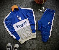 Мужской спортивный молодежный костюм весенний синий свитшот штаны с лампасами