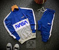 Мужской спортивный молодежный костюм NASA весенний синий свитшот штаны с лампасами