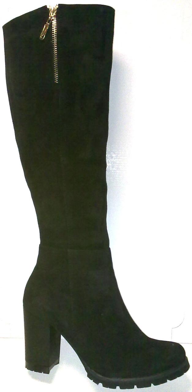 Сапоги зимние кожаные высокие замш