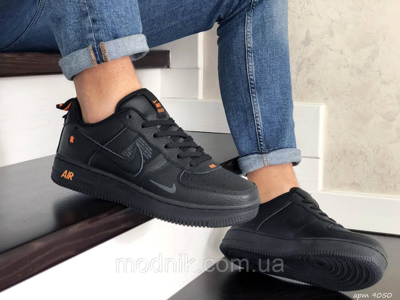 Мужские кроссовки Nike Air Force (черные) 9050