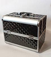 Бьюти кейс чемодан алюминиевый с ключом черный объемный ромб для мастеров