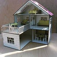 Домик для кукол деревянный с мебелью. Игрушечный коттедж для Барби.