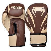 Перчатки для бокса и единоборств Venum IMPACT CLASSIC кожаные 8316 Brown 12 унций
