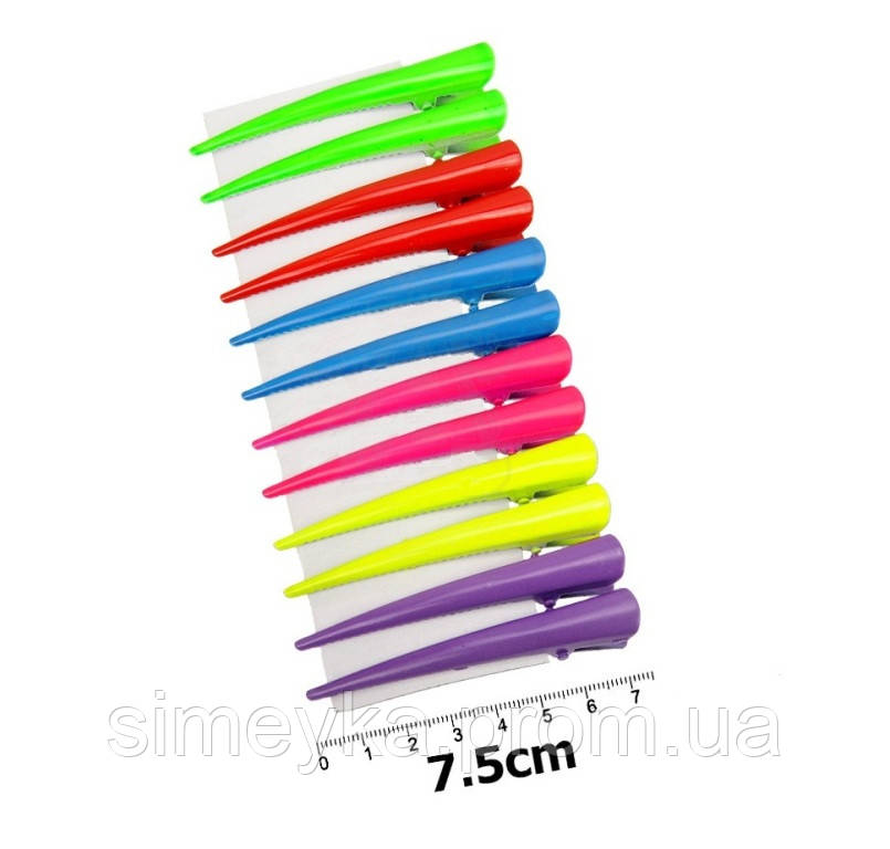 """Зажим стріла """"уточка"""" середній кольоровий 7,5 см, упаковка 6 шт"""