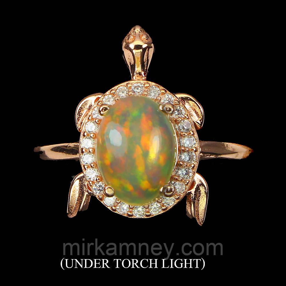 Кольцо натуральный крупный Опал (Эфиопия) (Черепаха). Размер 17. Серебро 925 пробы, покрытое золотом