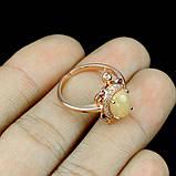 Кольцо натуральный крупный Опал (Эфиопия) (Черепаха). Размер 17. Серебро 925 пробы, покрытое золотом, фото 3