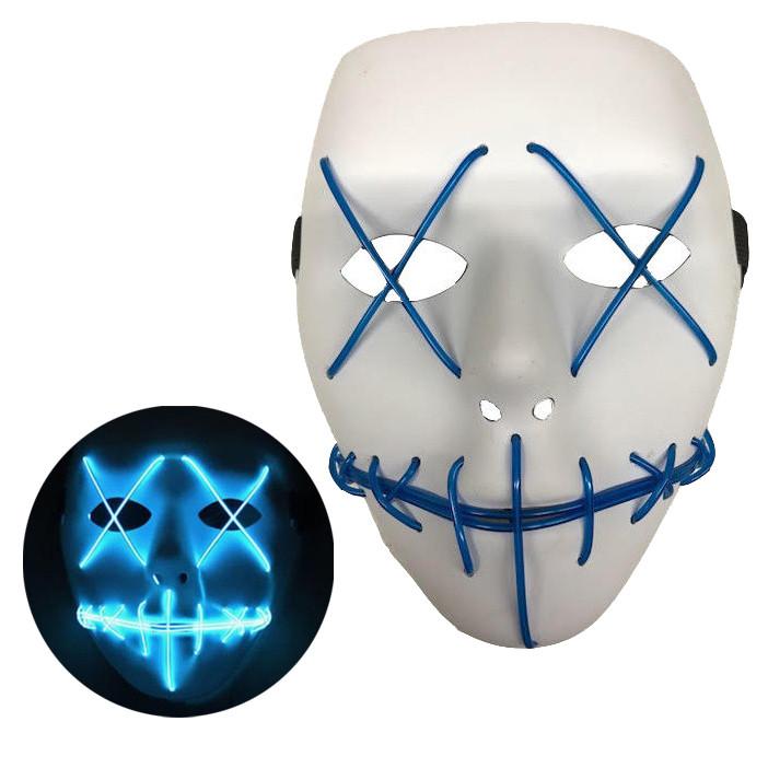 Неоновая Маска для вечеринок с подсветкой Led Mask 1 Blue SKL25-149767
