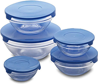 Набор стеклянных емкостей с крышками Cooking Bowl 5 шт | Судочки для хранения пищевых продуктов