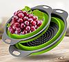 Дуршлаг силиконовый складной большой + маленький Collapsible filter baskets | Складной силиконовый друшлаг, фото 7