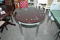 Стеклянный Стол кухонный Сандра 1,0м Голубой