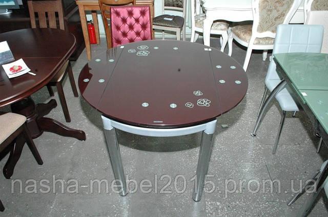 Стеклянный Стол кухонный Сандра 1,0м Бордовый