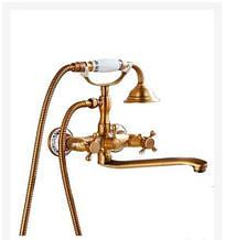 Смеситель для ванны латунный с длинным носом бронза 0175