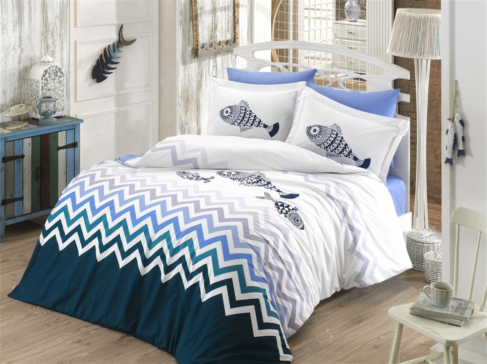 Постельное белье 200х220 HOBBY Поплин Ocean синий/голубой