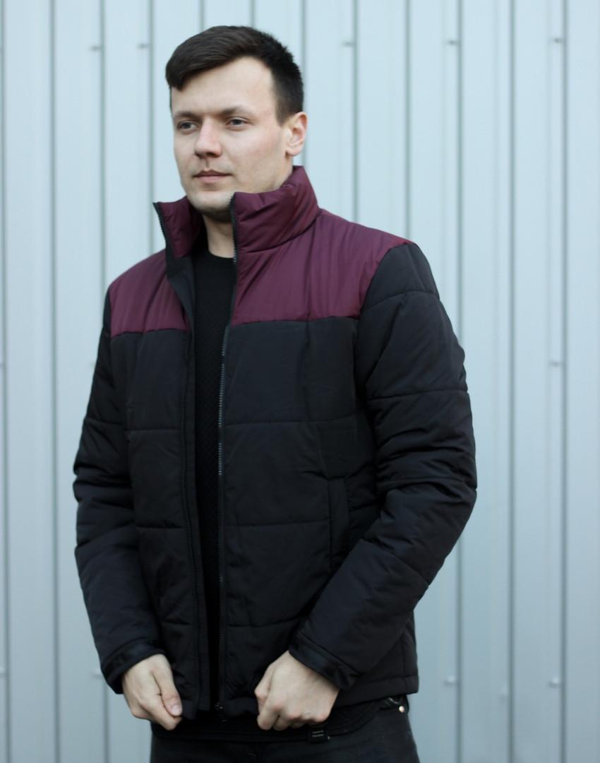 """Куртка мужская демисезонная без капюшона """".Vidlik M -1"""" черные с бордо. Живое фото (весенняя куртка)"""