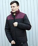 """Куртка мужская демисезонная без капюшона """".Vidlik M -1"""" черные с бордо. Живое фото (весенняя куртка), фото 2"""