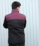 """Куртка мужская демисезонная без капюшона """".Vidlik M -1"""" черные с бордо. Живое фото (весенняя куртка), фото 3"""