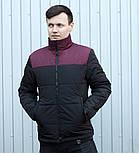 """Куртка мужская демисезонная без капюшона """".Vidlik M -1"""" черные с бордо. Живое фото (весенняя куртка), фото 4"""