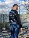 Подростковая куртка кожанка косуха черная, фото 2