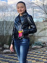 Подростковая куртка кожанка косуха черная