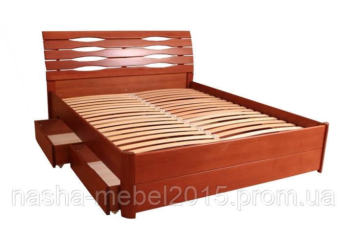 Двуспальная Деревянная Кровать Мария Люкс с ящиками 1,8м