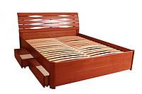 Деревянная Кровать Мария Люкс с ящиками 1,4м