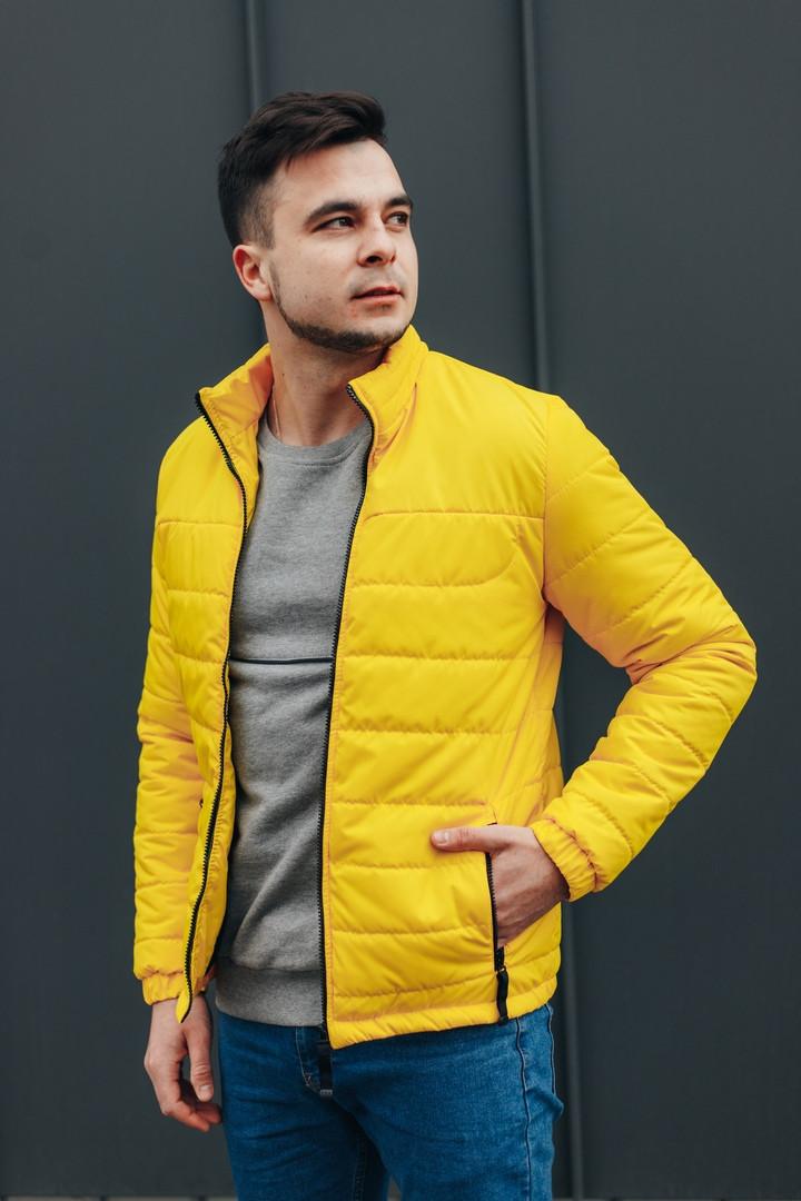 """Куртка мужская демисезонная без капюшона """"АРТ 067.07"""" желтая. Живое фото (весенняя куртка)"""