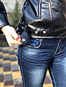 Підліткова куртка кожанка косуха графітового кольору, фото 4