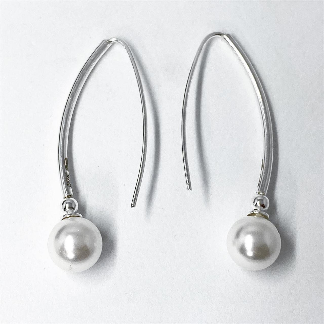 """Серьги подвески Beauty Bar из серебра 925 модель """"шары жемчуг"""""""