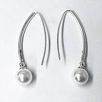 """Серьги подвески Beauty Bar из серебра 925 модель """"шары жемчуг"""", фото 1"""