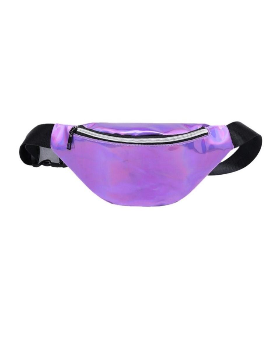 Блестящая женская сумка бананка Голограмма 5, Фиолетовая