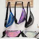 Блестящая женская сумка бананка Голограмма 5, Фиолетовая, фото 2