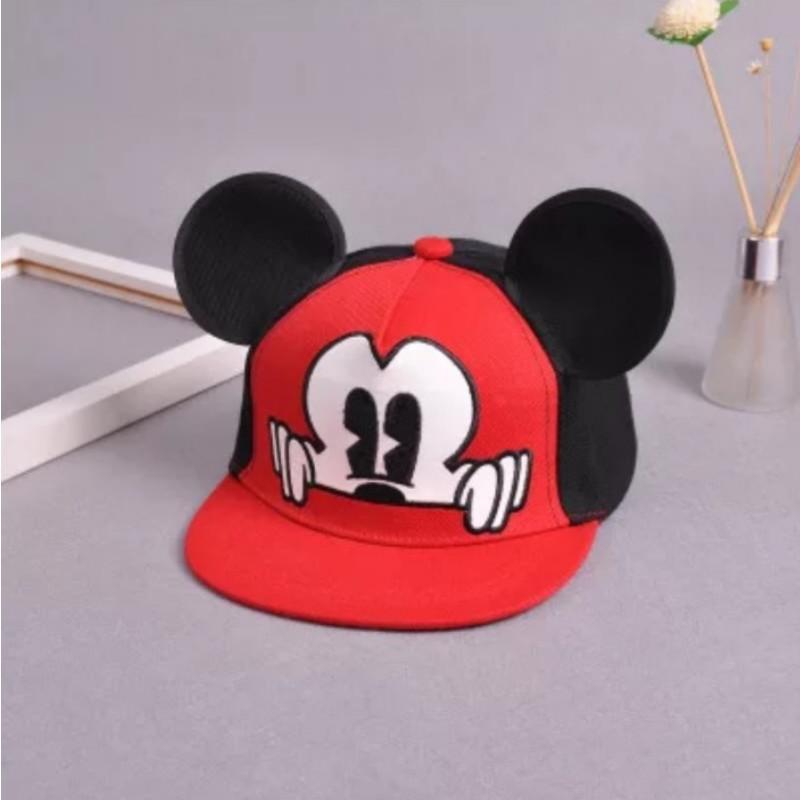 Детская кепка снепбек  с ушками Микки Маус с прямым козырьком Красная 1, Унисекс