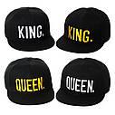 Комплект кепка снепбек King & Queen (Король и Королева) с прямым козырьком для двоих 2, фото 2