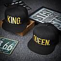 Комплект кепка снепбек King & Queen (Король и Королева) с прямым козырьком для двоих 2, фото 3