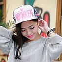 Кепка снепбек Drunken с прямым козырьком Розовая 2, Унисекс, фото 5
