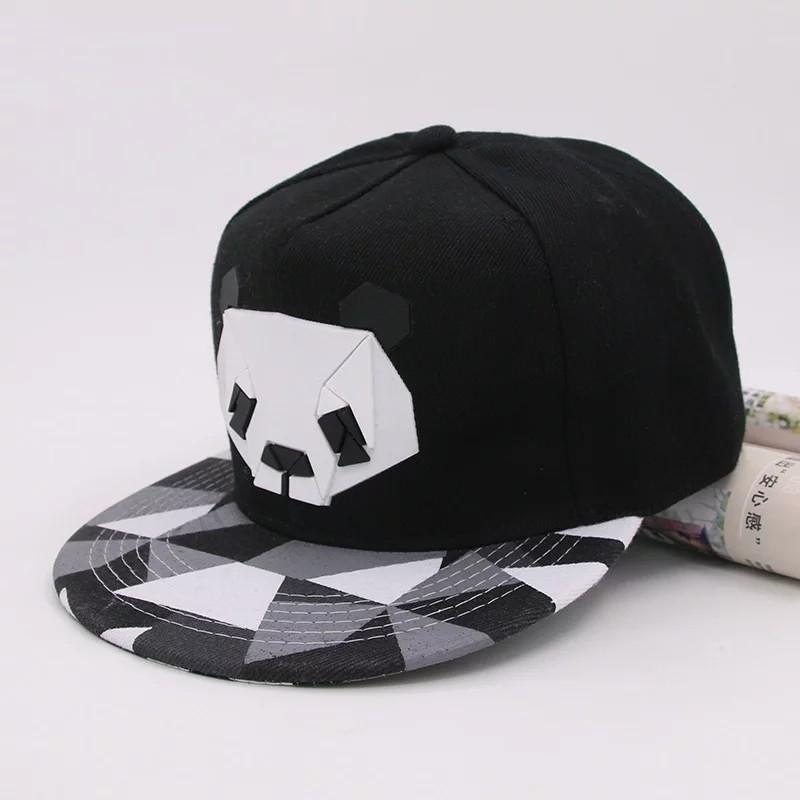 Кепка снепбек Панда с прямым козырьком Черная 2, Унисекс