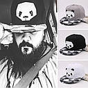 Кепка снепбек Панда с прямым козырьком Черная 2, Унисекс, фото 5