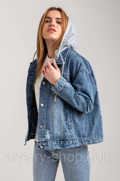 Женская куртка джинсовая с капюшоном в размере S, M, L