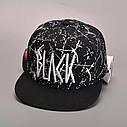Кепка снепбек Black с прямым козырьком Белая 2, Унисекс, фото 3