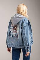 Молодіжна джинсова куртка з капюшоном відчепним, фото 1