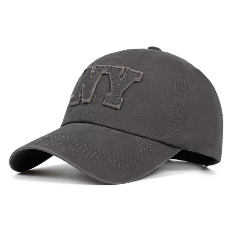 Кепка бейсболка NY 3, Серая 2 Унисекс