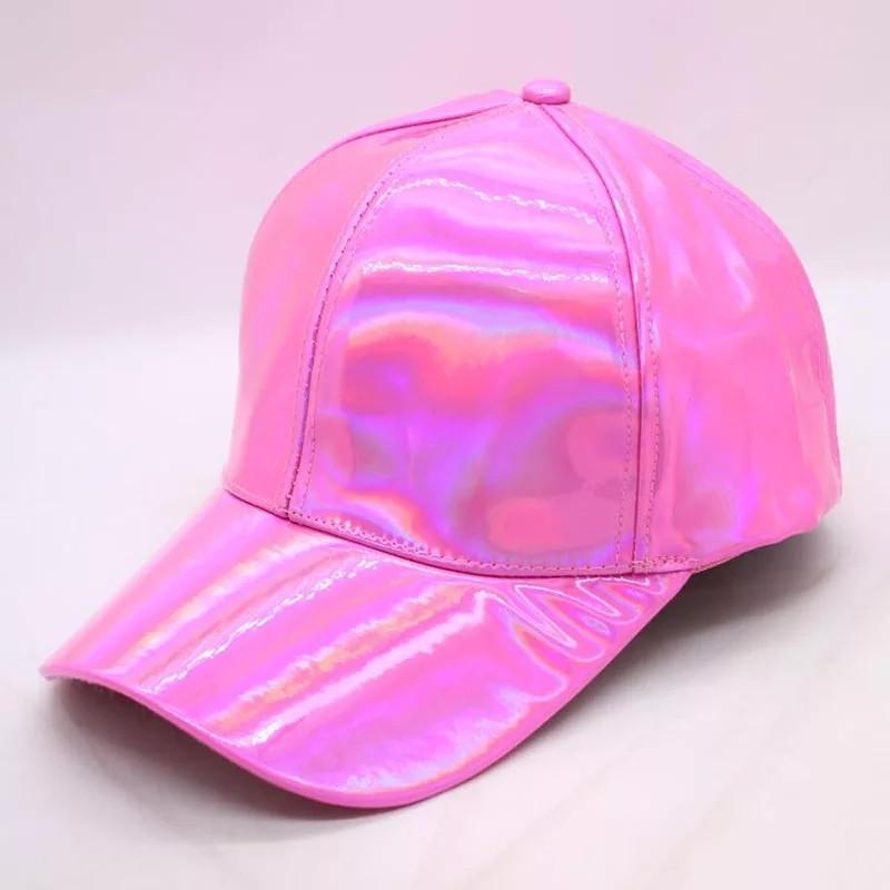 Кепка бейсболка Блестящая Голограмма Розовая 2, Унисекс