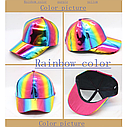 Кепка бейсболка Блестящая Голограмма Розовая 2, Унисекс, фото 10