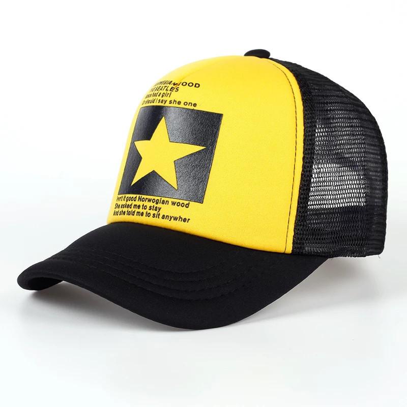 Кепка тракер Звезда с сеточкой Желтая 1, Унисекс