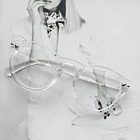 Имиджевые круглые  очки в широкой оправе прозрачный