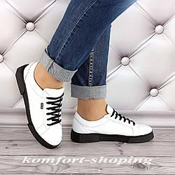 Женские кожаные кроссовки на шнуровке , белые  V 1283