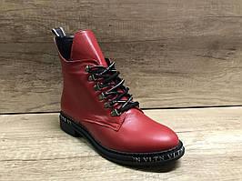 Модные демисезонные  ботинки из натуральной кожи красные Vikttorio